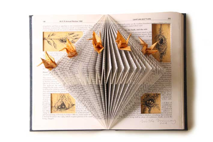 The Peace Cranes, paper-folding, charcoal and shellac on book substrate. ©2014