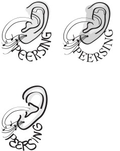 Logo designs for the Peer Sing, a community choir event in Brisbane.